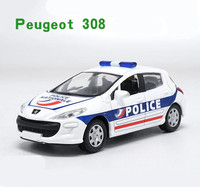 1 43 Scale Alloy Car Toy High Imitation Peugeot 308 Swat Cop Car Model Metal Casting
