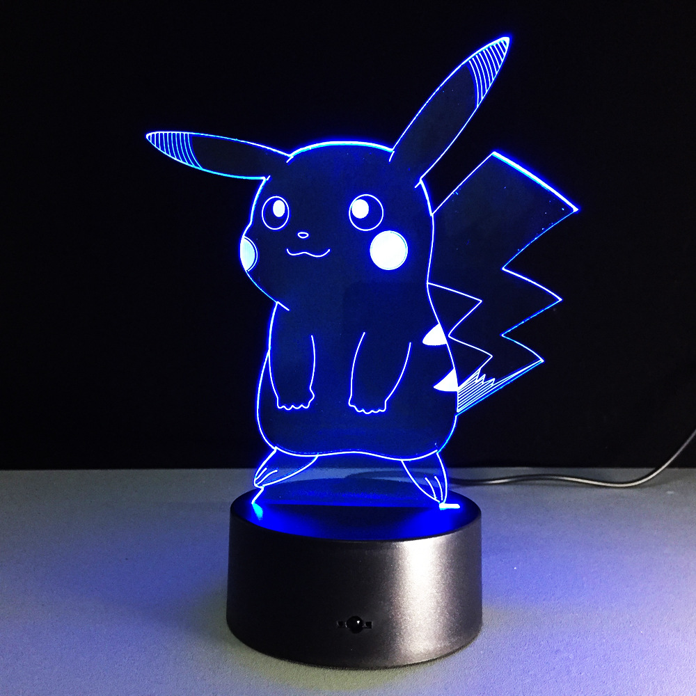 USB RGB Pikachu Lamp Touch Dimmable 3D Night Light remote control 3D lamp LED lamp colorful touch visual gifts atmosphere lamp