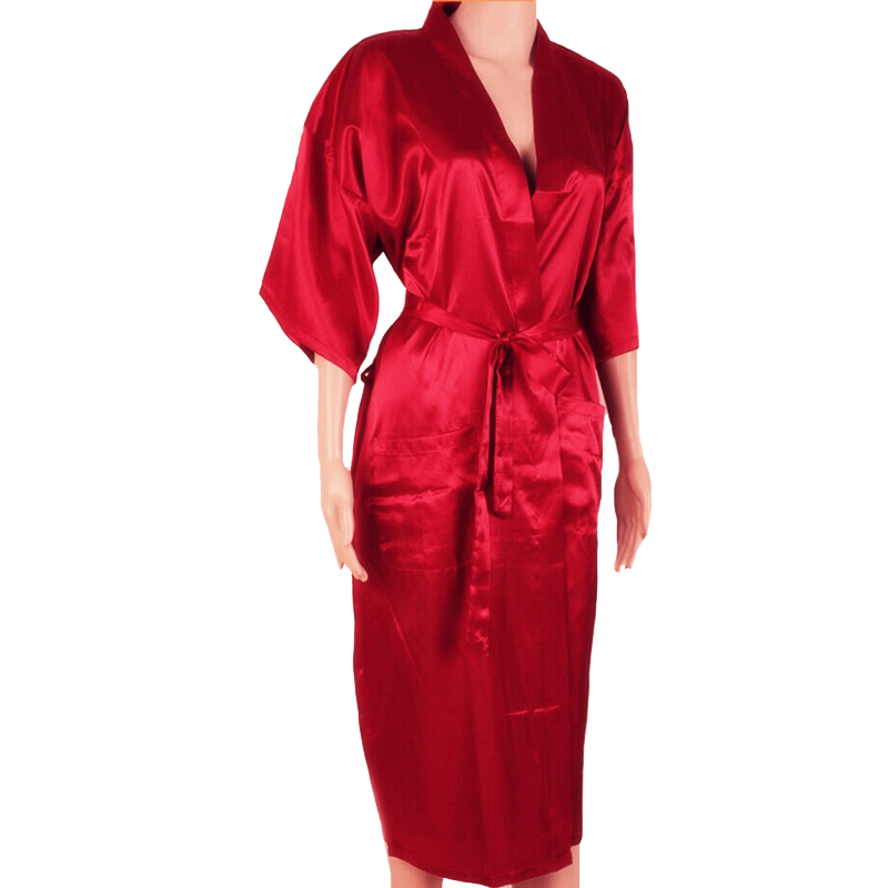 New Red Chinese Men Sexy Silk Robes Solid Color Kimono Bath Gown Rayon Nightwear Male Pajama Plus Size S M L XL XXL XXXL S0026