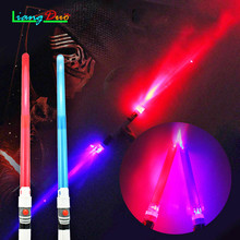 ФОТО 2 pcs boy toys lightsaber star wars laser sword luminous music telescopic lightsaber children's outdoor toys luminous sword toy
