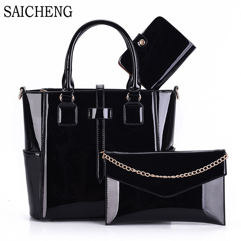 3 Set Wax Oiled Composite PU Leather Bag Handbags Women Messenger Bags Female Purse Solid Shoulder Bags Office Lady Casual Tote