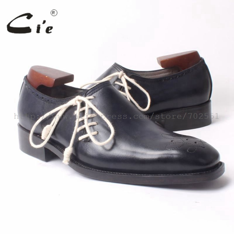 cie Square Toe Black Bespoke Handmade Men's Oxfords Goodyear Welted Calf Leather Breathable Shoe Color Flats Deep Blue OX306 полироль пластика goodyear атлантическая свежесть матовый аэрозоль 400 мл