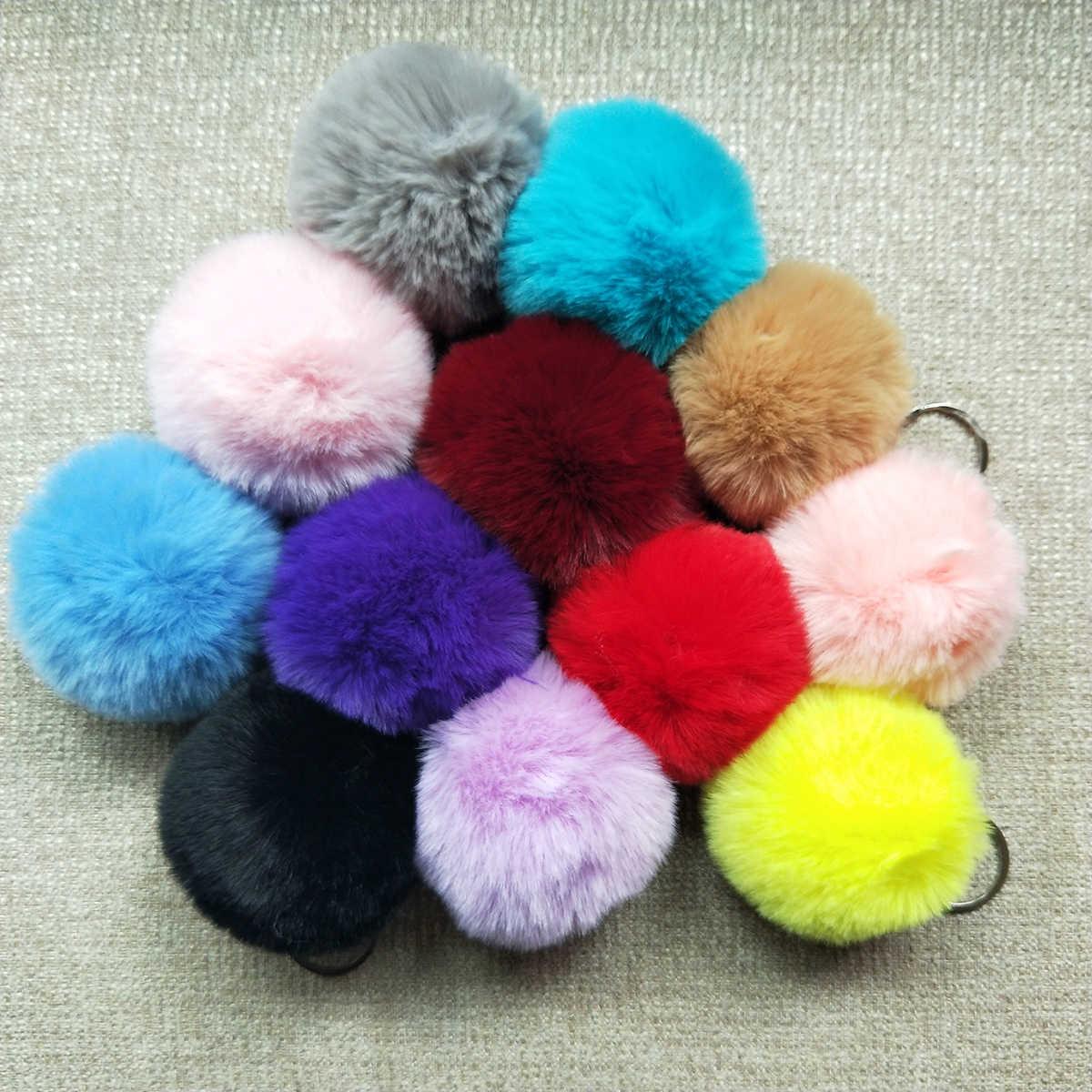 27 cores 2019 Fofo Pom Pom Chaveiro Carro Sacos de Anel para As Mulheres Fashion Faux Pele De Coelho Pompom Chaveiro Jóias acessórios