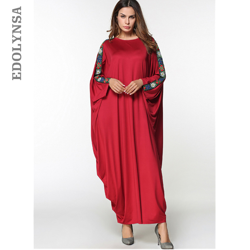 Detail Feedback Questions about Brand Fashion Muslim Dress Solid Abaya  Muslim Dress Kaftan Kimono Dresses Abaya Plus Size Robe Knitting Embroidery  Dresses ... 1c3362a145e9
