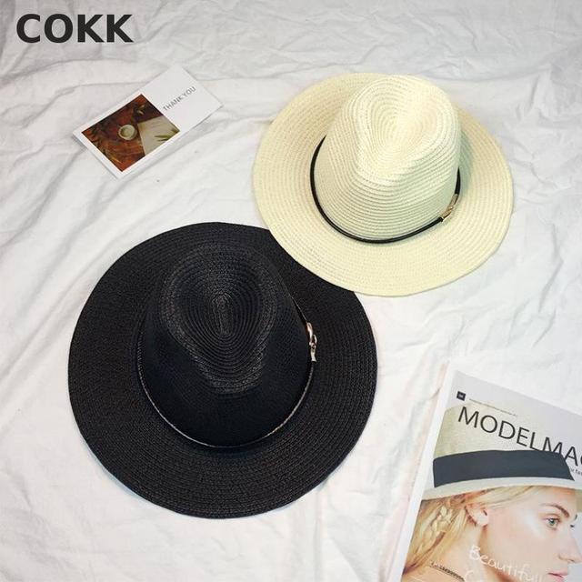 6f1987de567 COKK Women s Sun Hat Leather Chain Straw Flat Wide Brimmed Black White  Summer Hats For Women