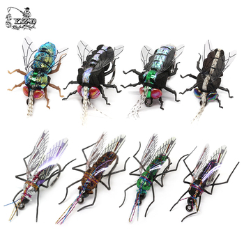 Trout Fly Fishing Flies Realistic Mosquito Housefly  Dry Hand Tie Lures Kits 12 Pcs fly fishing Collection