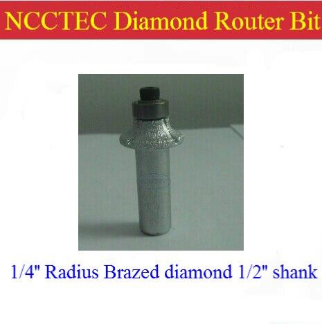 1/4'' R6 NCCTEC Radius Diamond Vacuum Brazing Brazed Router Bit With 1/2