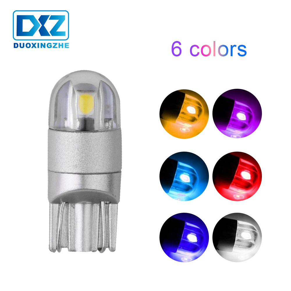 DXZ 1PCS T10 LED W5w 194 168 12V Canbus Car Interior Light 3030 2SMD Parking Bulb Auto Wedge Clearance Read Lamp Ice Bule 12V
