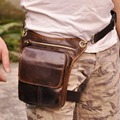 Men's Oil Wax Genuine Leather Cowhide Vintage Travel  Motorcycle Riding Cross Body Messenger Shoulder Belt Hip Fanny Pack