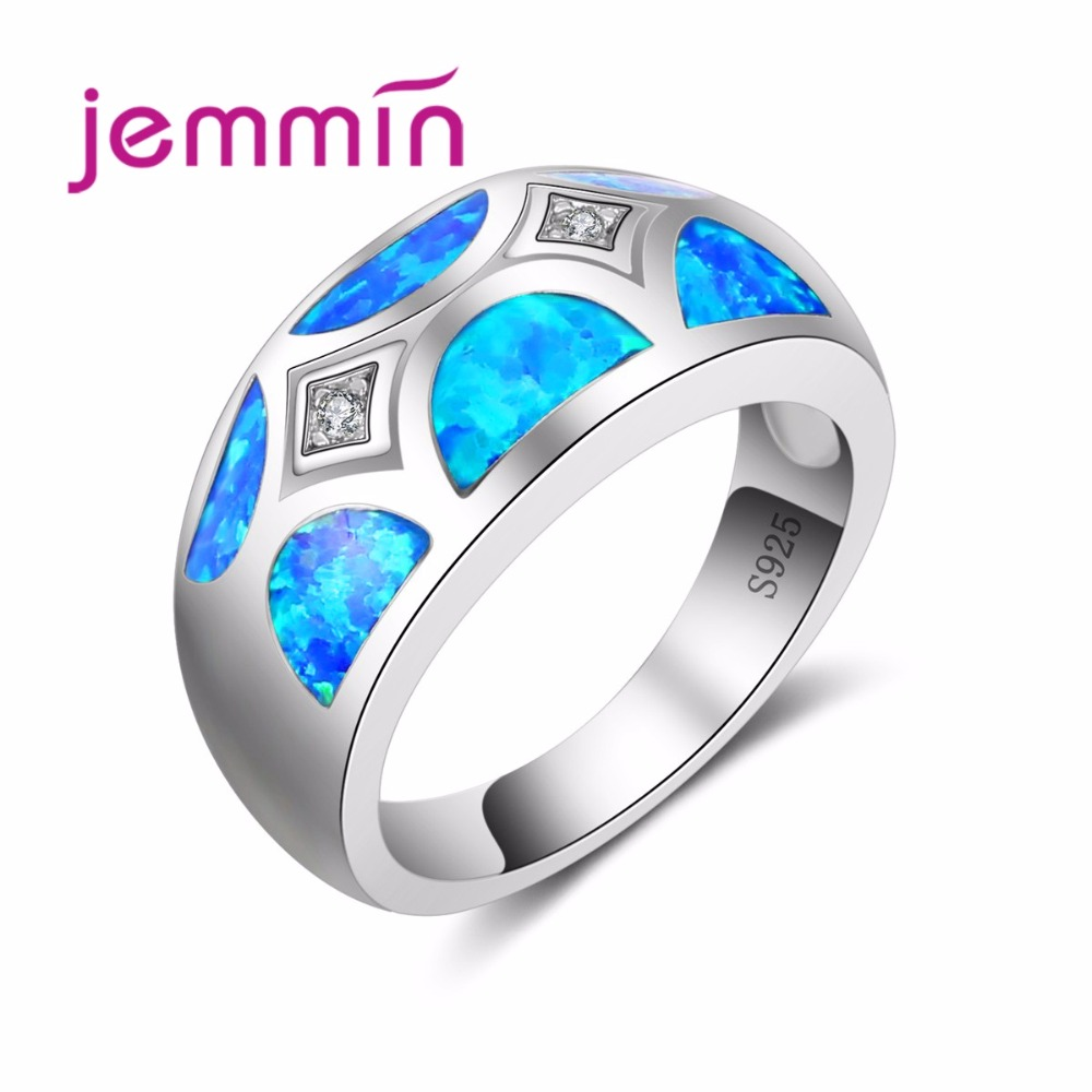 Men Rings Silver 925 Generous Design Sterling Silver Ring With Austrian Cubic Rhinestone For Women Blue Opal Fire Crystal