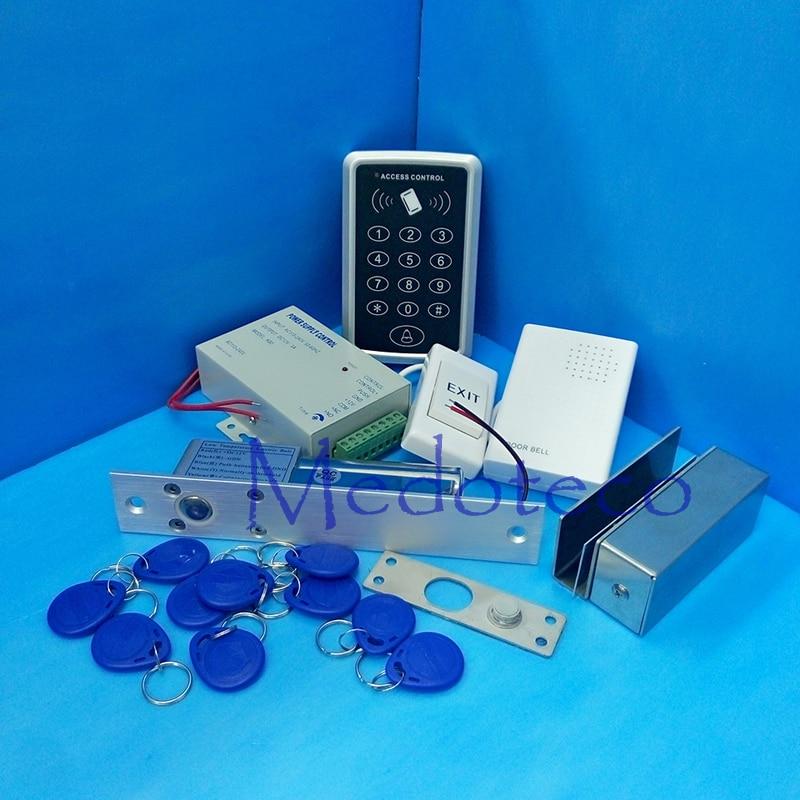 Full Rfid Door Access Control System 125Khz Rfid Card Glass Door Access Control System Kit +Electric Bolt Lock & Power Supply