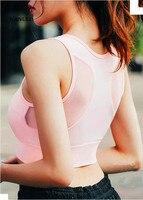 2017 New Women Crop Tops Sexy Gauze Splicing Sports Bra Vest Type Shockproof Vadim Underwear Run