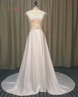 Dream Angel Elegant Soft Satin Lace Beach Wedding Dresses 2017 Sexy Court Train Scoop Neck Illusion
