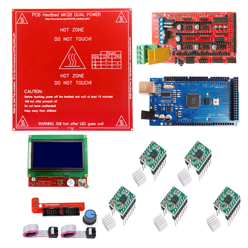 Mega 2560 3D Printer RAMPS 1.4 5X A4988 LCD 12864 Controller for RepRap