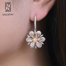 SISICATHY Delicate AAA Full Cubic Zirconia Flower Shape Drop Dangle Earrings For African Dubai Bridal Wedding Engagement Earring цена