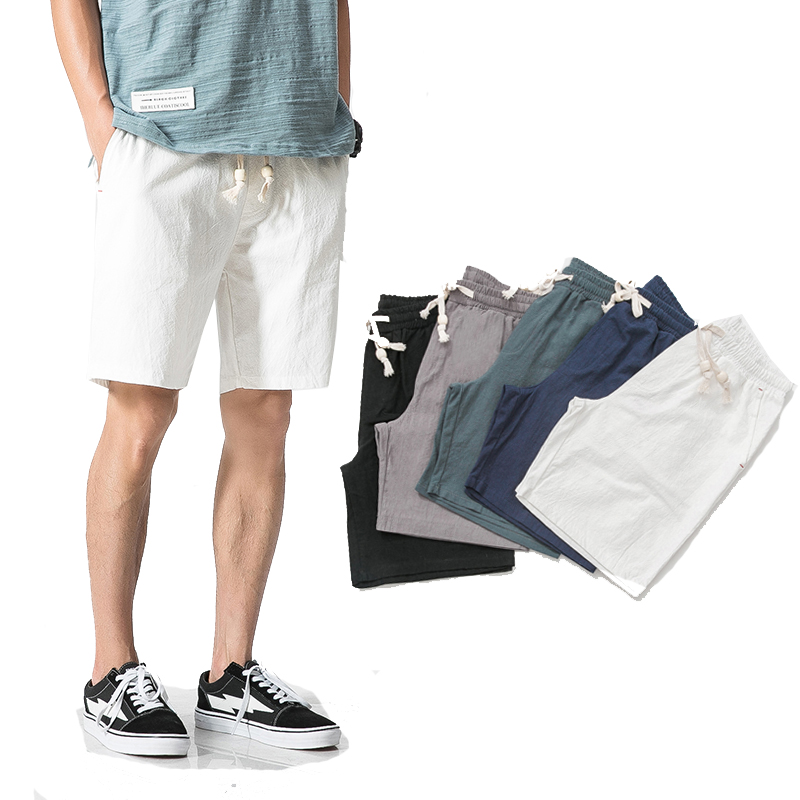 Board Shorts Linen Breathable Men Summer Cotton Fashion Elastic-Waist Solid Casual