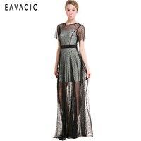 EAVACIC sexy mesh dress 2019 elegant women lace midi dress summer short shoulder maxi dress