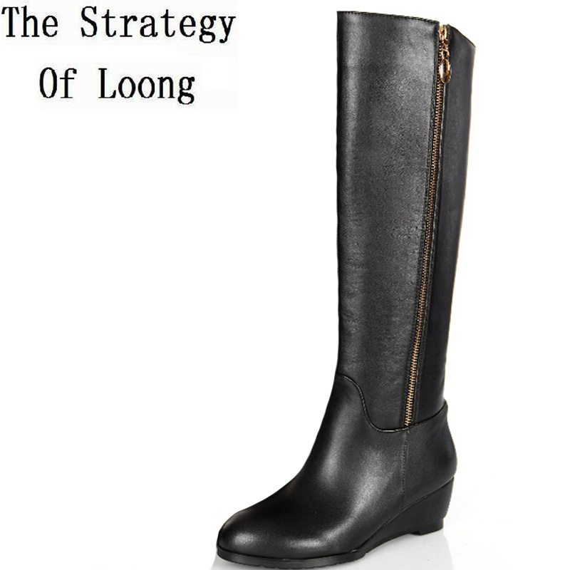 2017 New Women Spring Autumn Wedges Genuine Leather Side Zipper pointed Toe Fashion Knee High Boots Plus Size 34-45 SXQ0716 цены онлайн