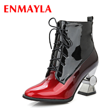 ENMAYLA High Heels Short Boots Women Lace-up Rhinestone Ankle Gradient Color Cool Punk Motorcycle Womens Shoes Woman