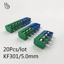 20Pcs/lot KF301-5.0-2P KF301-3P KF301-4P Pitch 5.0mm Straight Pin 2P 3P 4P Screw PCB Terminal Block Connector Blue Green