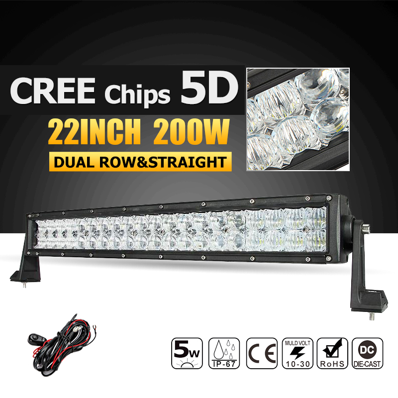 Oslamp 22 200W CREE Chips 5D LED Light Bar Offroad Led Work Light Combo Beam Truck SUV Boat 4X4 4WD ATV 12v 24v Driving Lamp oslamp 32 300w cree chips led work light bar offroad led bar lights combo beam led driving lamp for truck suv 4x4 4wd 12v 24v