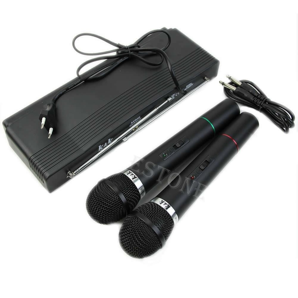 Dual 2 Mics Handheld Wireless Cordless Microphone System Professional Receiver