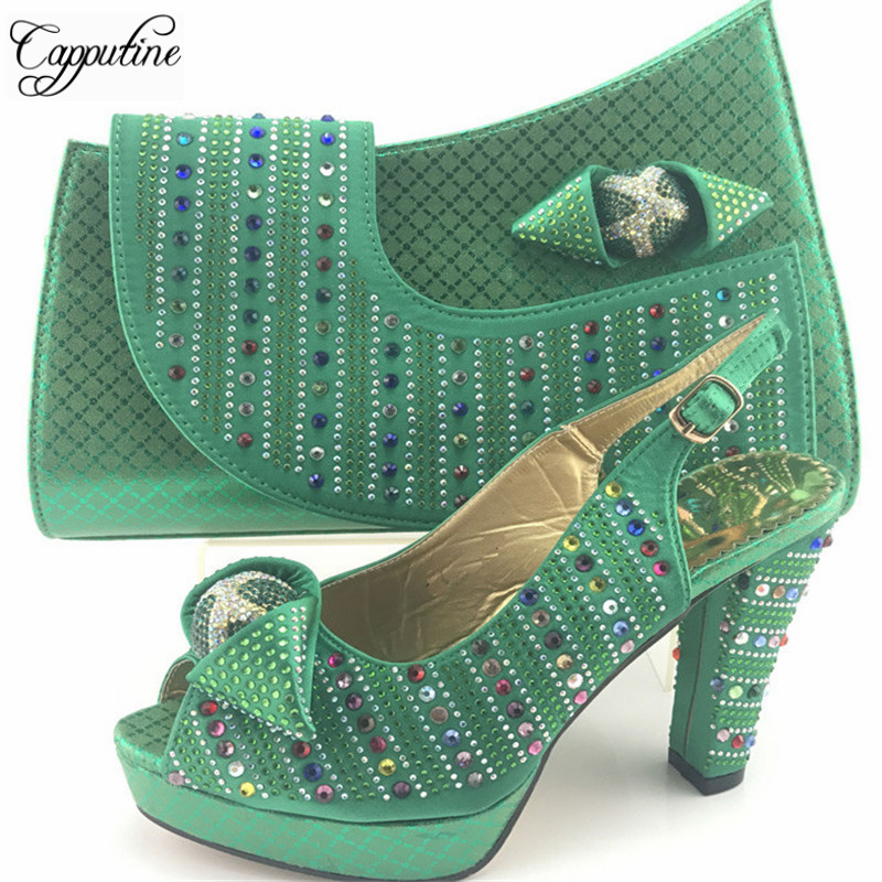 Capputine Nigerian Style Rhinestone High Heels Shoes And Bag Set Italian Design Shoes With Matching Bag Set For Wedding ME7716 doershow african shoes and bags fashion italian matching shoes and bag set nigerian high heels for wedding dress puw1 19