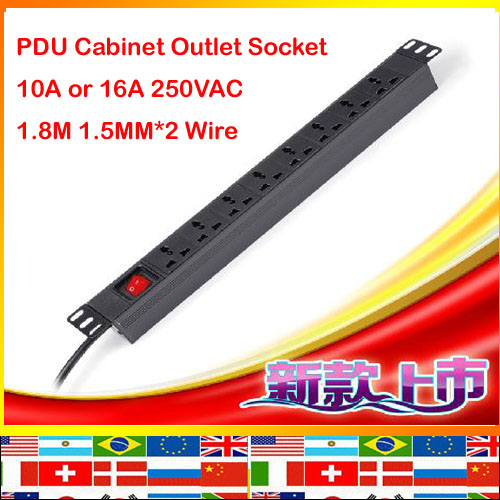 International 8 jacks aluminum 1.8m 1.5mm cable 10A 16A 250V universal PDU outlet illuminated ON OFF Switch Cabinet strip socket 660v ui 10a ith 8 terminals rotary cam universal changeover combination switch