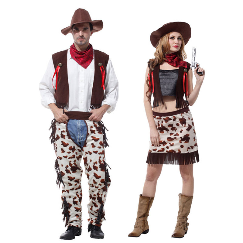 Umorden Halloween Party Cowboy Costume for Men and Women Cowgirl Cosplay Wild West Dress Suit Carnival Adult Costumes