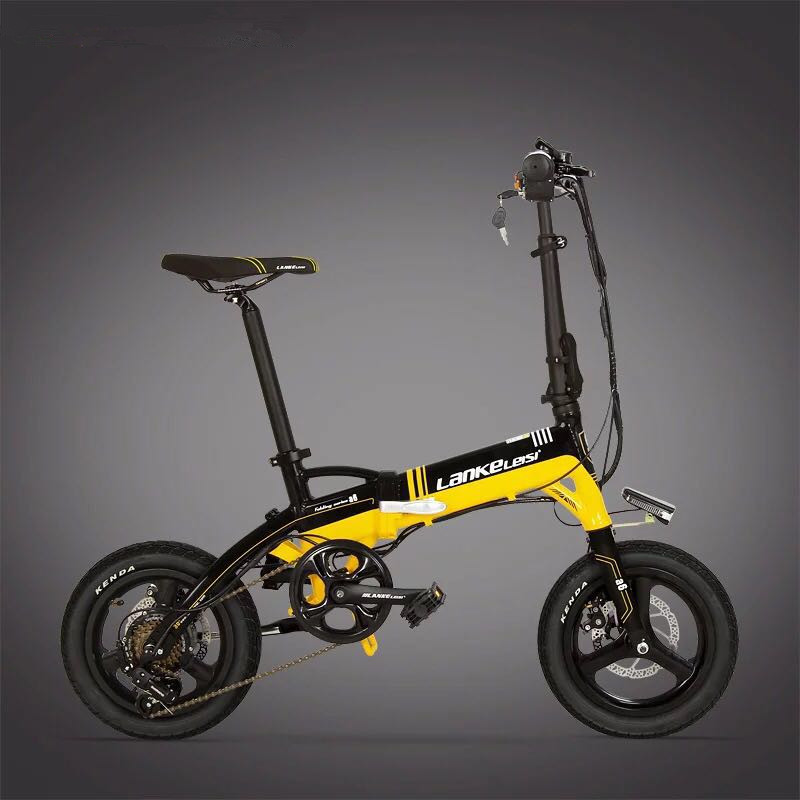LANKELEISI A6 electric bicycle, 14 inch Ultra Light Mini hid battery booster bike