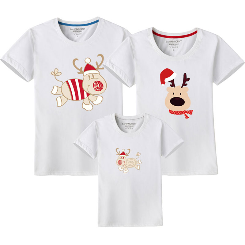 HTB1EKYYUMHqK1RjSZFEq6AGMXXar - Father Son Clothes Family Look Christmas Family Matching Outfits T Shirt Mother Daughter Short Sleeve Dad Mom Baby Family Suit