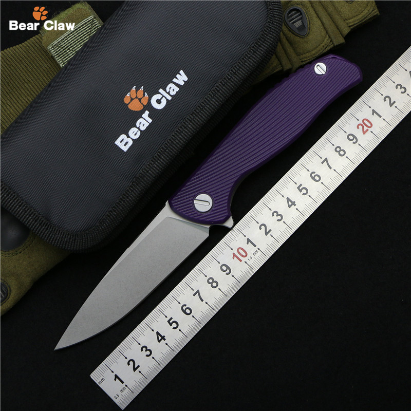 Bear claw Hati 95 Flipper folding knife D2 blade G10 TC4 Titanium handle camping hunting outdoor survival pocket knives edc tool outlife new style professional military tactical multifunction shovel outdoor camping survival folding spade tool equipment