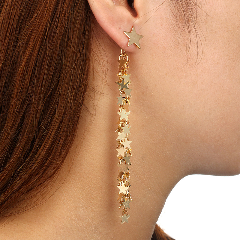 Punk Gold Color Star Pendant Earrings for Women Silver Long Tassel Coin Drop Dangle Earring Party Jewelry Pendientes
