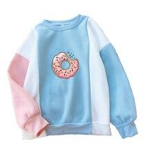 Women Sweatshirt Harajuku Kawaii Donuts Printing Cute Hoodies Patchwork Pastel Contrast Color O-neck Winter Autumn Clothing Top
