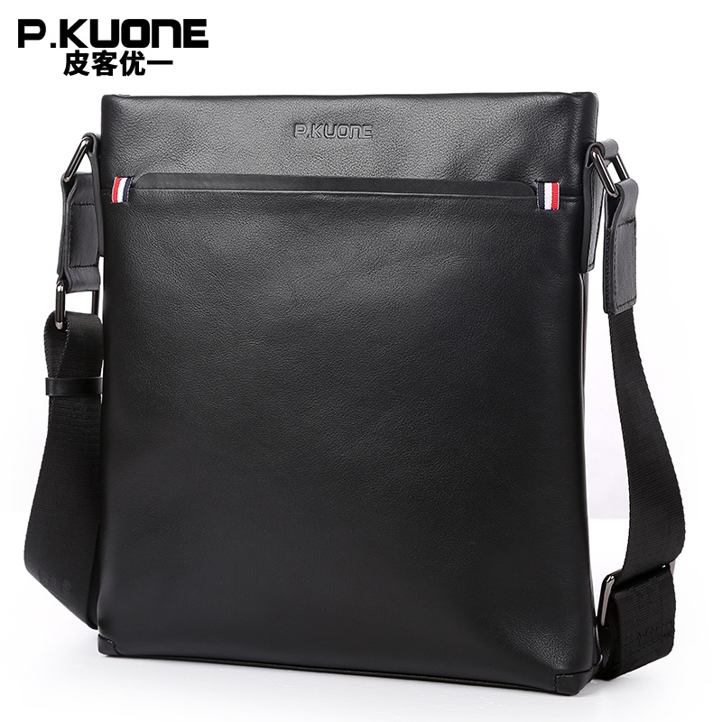 P.KUONE Fashion Genuine Leather Men Shoulder Bags 2017 New Design High Quality Handbag Famous Luxury Brand Travel Messenger Bag 2017 hot sale fashion men bags men famous brand design leather messenger bag high quality man brand shoulder bag wholesale price