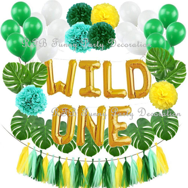 Gold Birthday Decorations Kit 16Inch WILD ONE Balloons With Artificial Palm Leaves For Baby Girl Boy