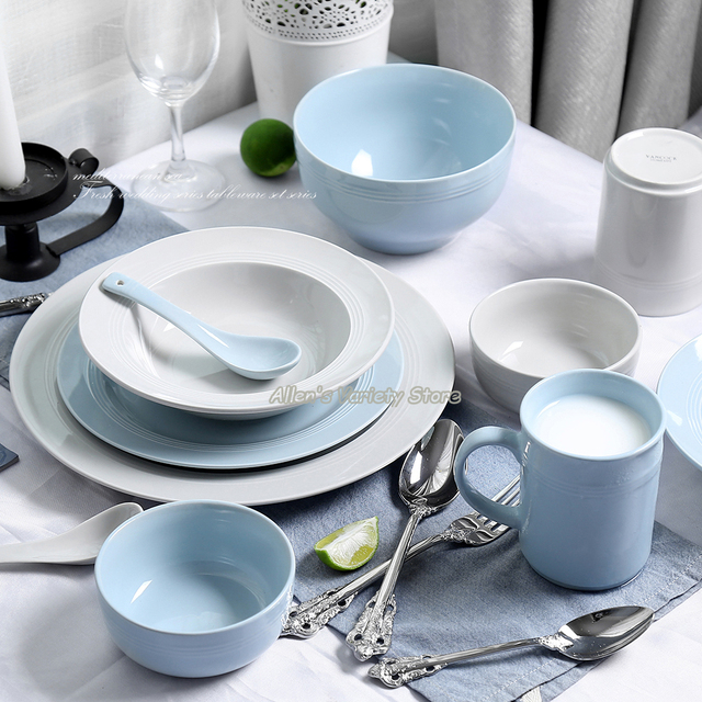 European tableware Household Dishware Set Simple dishes salad bowl Steak plate Flat plate Soup bowl spoon & European tableware Household Dishware Set Simple dishes salad bowl ...