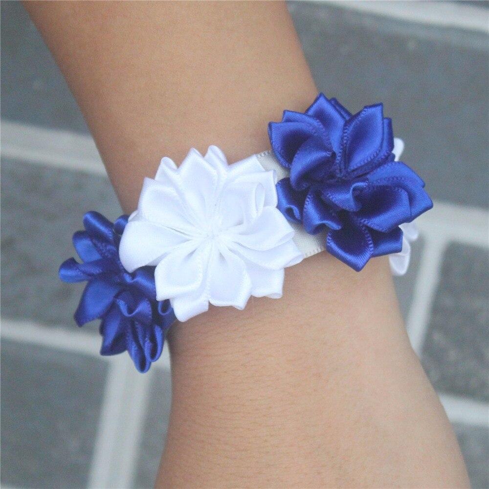 Aliexpress Buy Royal Blue White Satin Flores Wedding Wrist
