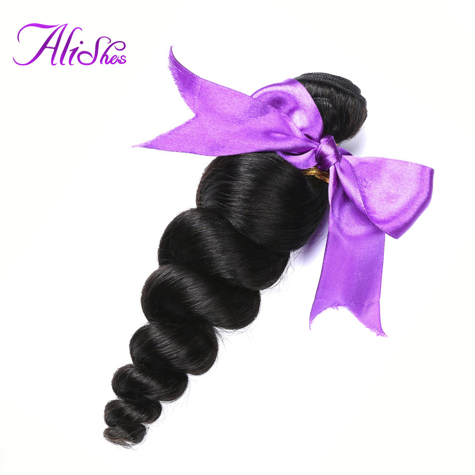 Alishes Loose Wave Malaysian Hair Bundles 8-28 Inch Mixed Remy Hair Weave Bundles 1/3 Pieces Human Hair Extensions Natural Color