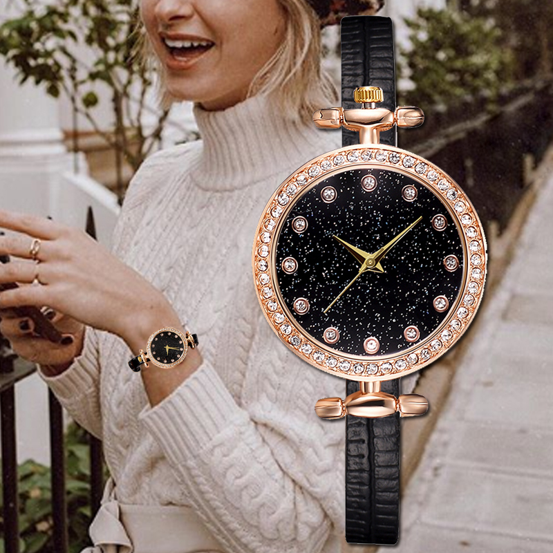 Disu Brand Women's Vintage Watches Casual Small Leather Wristwatches Simple Leather Rhinestone Quartz Ladies Dress Wrist Watch