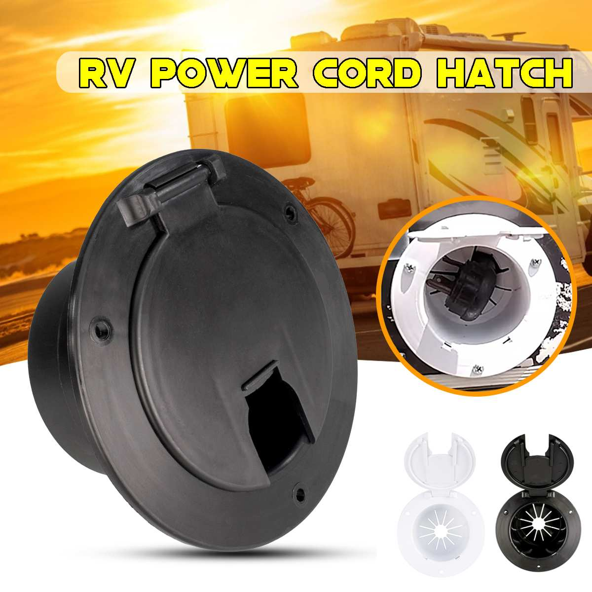 RV Electric Power Cord Round Cable Hatch Camper' Car Cover Sun Fade Protected With UV Stabilizer PP Plastic Material Accessories
