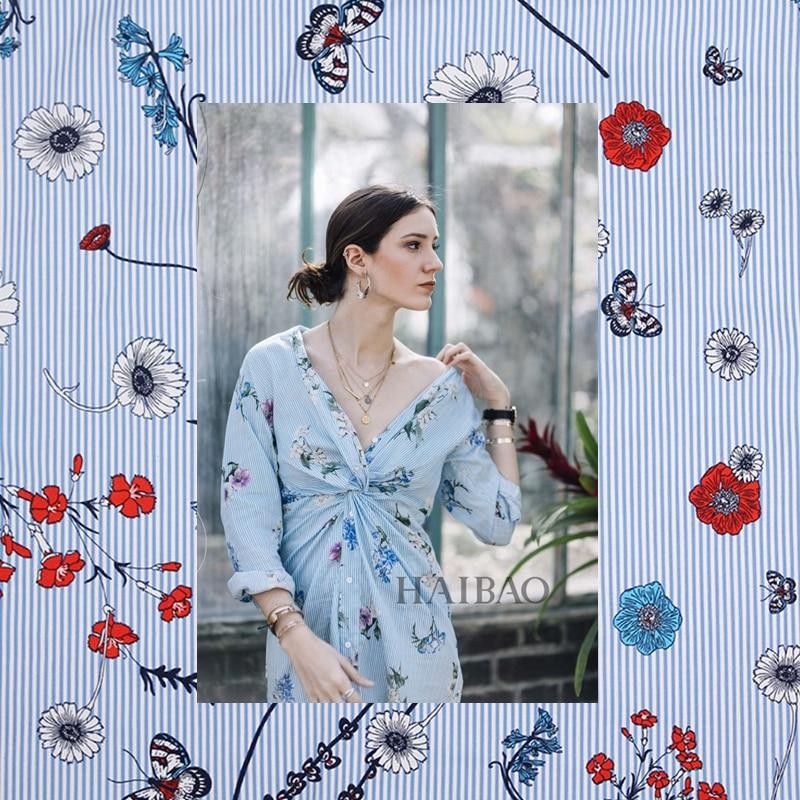 Ширина 140 см Сельский ветер полоса бабочка печати моды плюшевые чистой хлопчатобумажной ткани для ткани платья au метр дешевые ткани DIY telas