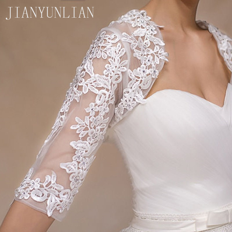Image 3 - New Ivory Half Sleeve Wedding Jacket Lace Bridal Bolero Shrugs Wraps Capes Stock One Size 2020 Appliques Wedding AccessoryWedding Jackets / Wrap   -