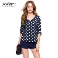 2016 Fashion Dot V Neck Blouse Shirt Navy Blue Casual Women Blouses Blusas Femininas Zip Front