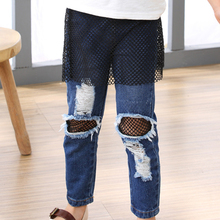 2017 New Baby Girls Pants Autumn Solid Kids Pants Clothes Cotton Casual Full Hole Elasticity Girls Jeans Children Clothing 2p068