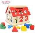 Деревянный домик с цифрами, детская игрушка для обучения счету и изучения геометрических форм, игрушечный домик, игрушки для детей Монтессори для обучения математике, игрушки для детей, развивающие игрушки