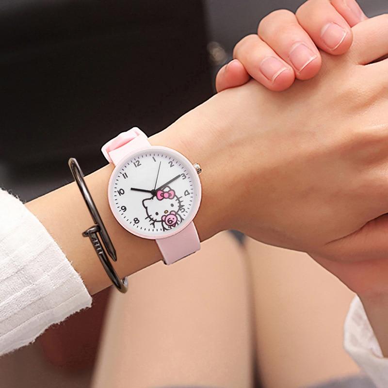 Dropshipping Silicone Colorful Student Girls Clock Fashion Children Bracelet Watch Cute Pink Pattern Quartz Kids Watches Fei