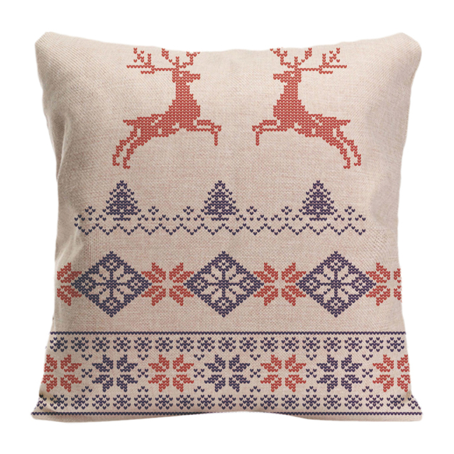 Cotton Linen Knitted Pattern Christmas With Deer Throw Pillow Case