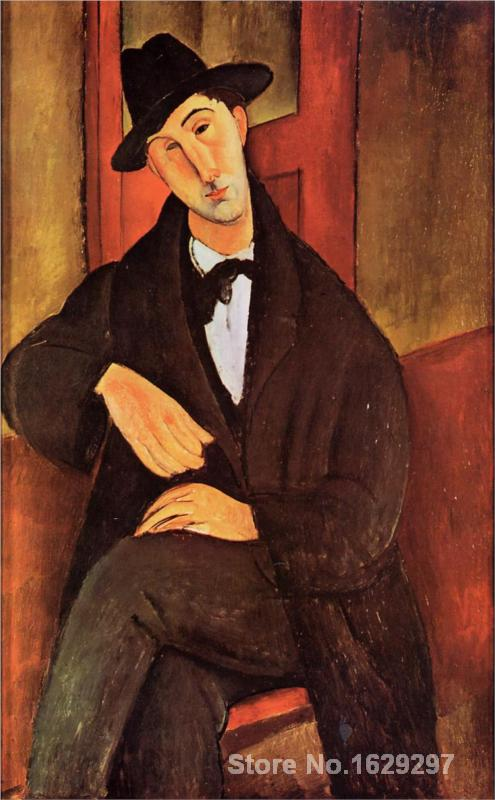 Modern painting on canvas Portrait of Mario Varvogli Amedeo Modigliani High quality Hand paintedModern painting on canvas Portrait of Mario Varvogli Amedeo Modigliani High quality Hand painted