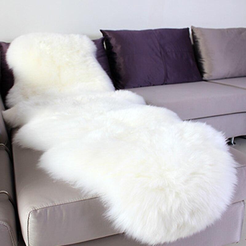 Peau de mouton tapis chaise couverture Pad tapis plaine peau fourrure moelleux tapis pour chambre fausse fourrure couverture tapis jeter 65x180 cm noël